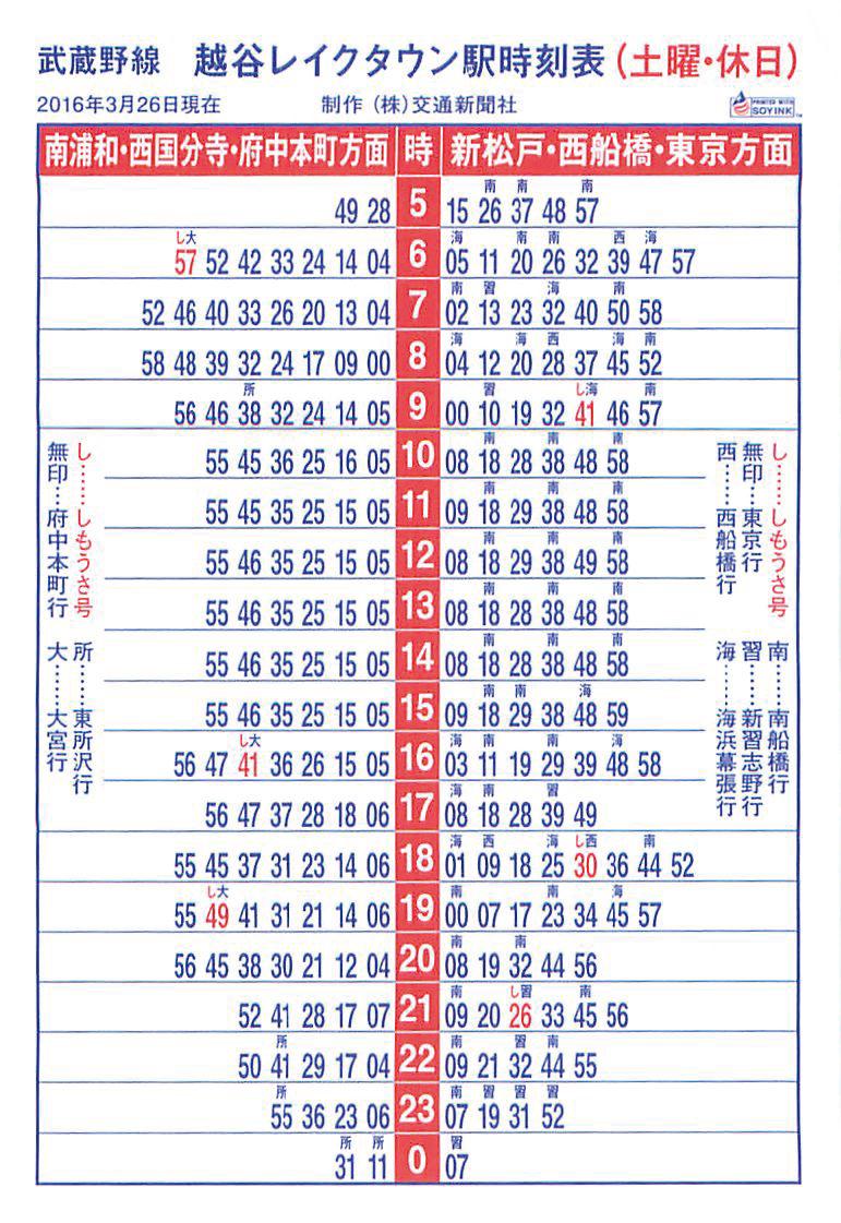 武蔵野線 越谷レイクタウン 土日休日時刻表