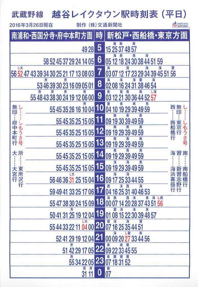 武蔵野線 越谷レイクタウン 平日時刻表
