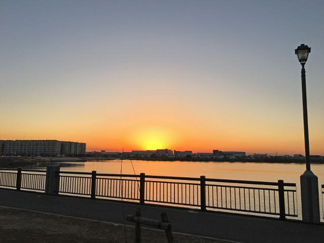 大相模調節池の夕陽